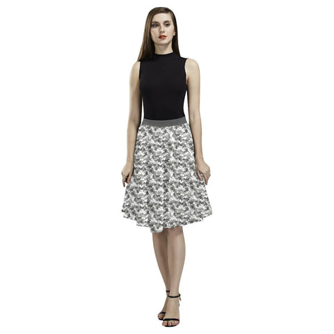 Camouflage Design 1 Women's Pleated Midi Skirt-Skirts-JEFAMO