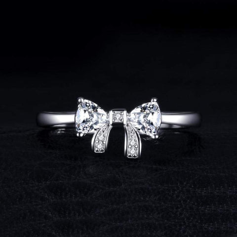 Image of Charming Bow Cubic Zirconia Ring 925 Sterling Silver-JP_RINGS-JEFAMO