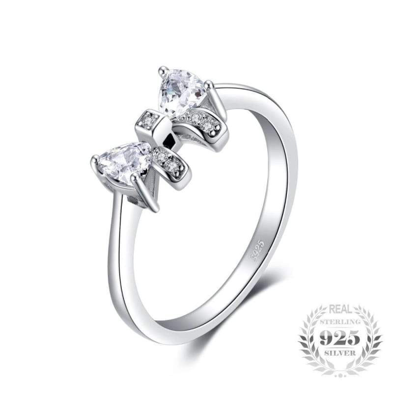 Charming Bow Cubic Zirconia Ring 925 Sterling Silver-JP_RINGS-JEFAMO