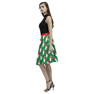 Christmas Pattern 1 Women's Pleated Midi Skirt (Model D15)