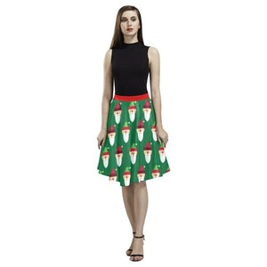 Christmas Pattern 1 Women's Pleated Midi Skirt (Model D15)-Skirts-JEFAMO