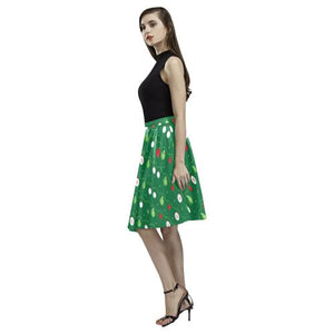 Christmas Pattern 2 Women's Pleated Midi Skirt (Model D15)