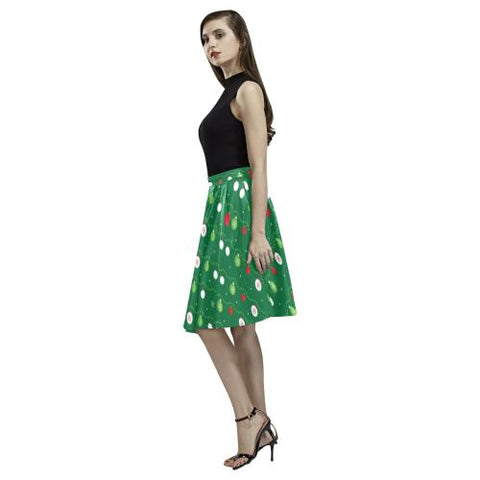 Christmas Pattern 2 Women's Pleated Midi Skirt (Model D15)-Skirts-JEFAMO