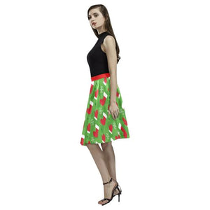 Christmas Pattern 3 Women's Pleated Midi Skirt (Model D15)