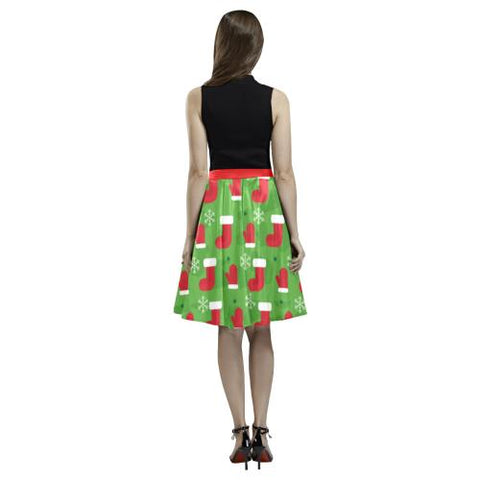 Christmas Pattern 3 Women's Pleated Midi Skirt (Model D15)-Skirts-JEFAMO