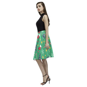 Christmas Pattern 4 Women's Pleated Midi Skirt (Model D15)