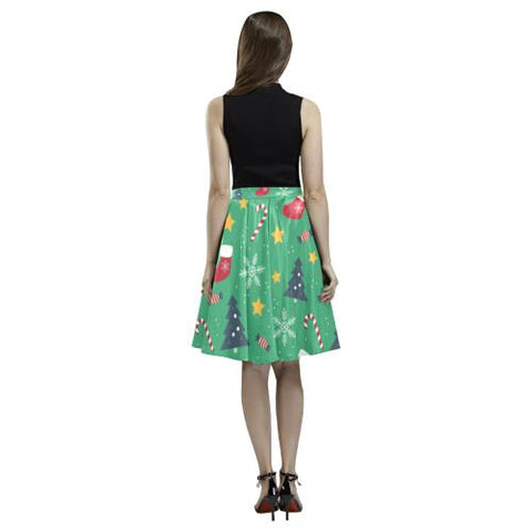 Christmas Pattern 4 Women's Pleated Midi Skirt (Model D15)-Skirts-JEFAMO