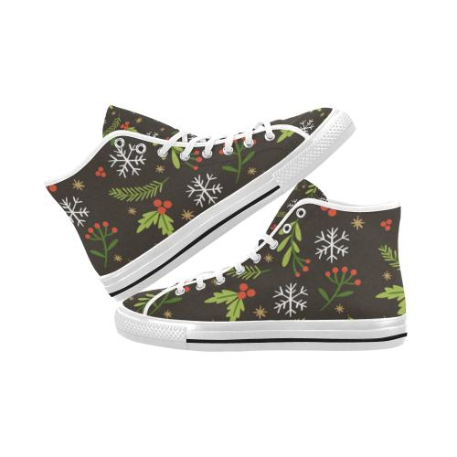 Christmas Pattern 5 Vancouver High Top Canvas Men's Shoes (Model1013-1)-Canvas Shoes-JEFAMO
