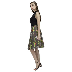 Christmas Pattern 5 Women's Pleated Midi Skirt (Model D15)