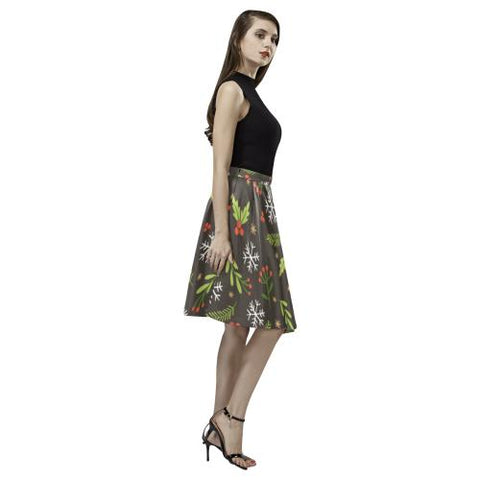 Christmas Pattern 5 Women's Pleated Midi Skirt (Model D15)-Skirts-JEFAMO