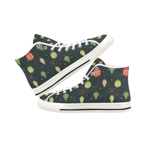Christmas Pattern 6 Vancouver High Top Canvas Women's Shoes (Model1013-1)-Canvas Shoes-JEFAMO