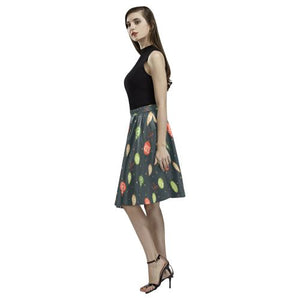 Christmas Pattern 6 Women's Pleated Midi Skirt (Model D15)