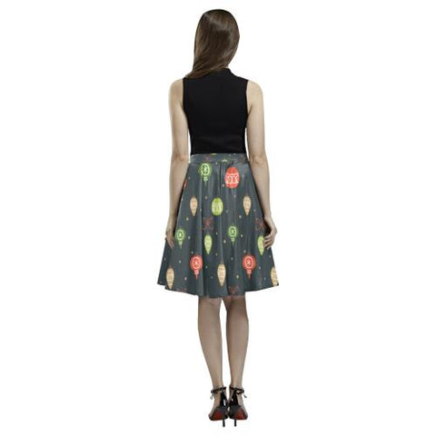 Christmas Pattern 6 Women's Pleated Midi Skirt (Model D15)-Skirts-JEFAMO