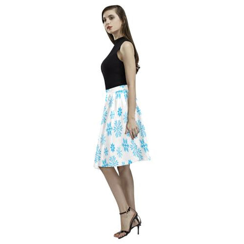 Christmas Pattern 7 Women's Pleated Midi Skirt (Model D15)-Skirts-JEFAMO