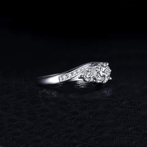 Image of Classic Cubic Zirconia Promise Ring 925 Sterling Silver-JP_RINGS-JEFAMO