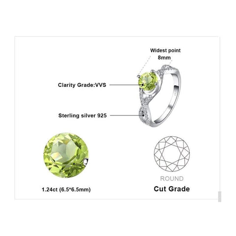 Classic Infinity Peridot White Topaz Ring 925 Sterling Silver-JP_RINGS-JEFAMO