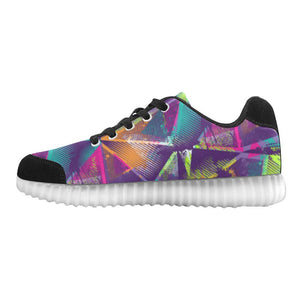 Colorful Prism Triangles Design 1 Light Up Casual Men's Shoes