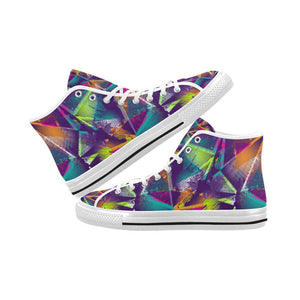 Colorful Prism Triangles Design 1 Vancouver High Top Canvas Men's Shoes