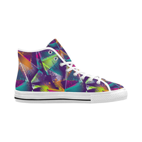 Image of Colorful Prism Triangles Design 1 Vancouver High Top Canvas Men's Shoes-Canvas Shoes-JEFAMO