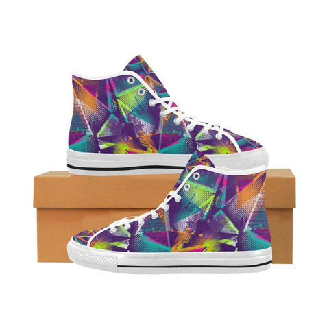 Colorful Prism Triangles Design 1 Vancouver High Top Canvas Men's Shoes-Canvas Shoes-JEFAMO