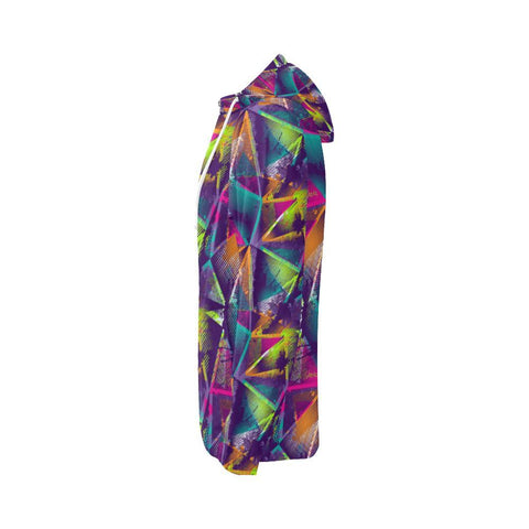 Colorful Prism Triangles Design 1 Women's All Over Print Full Zip Hoodie-Hoodies-JEFAMO