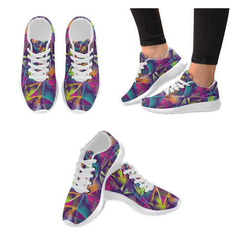 Colorful Prism Triangles Design 1 Women's Sneakers-Sneakers-JEFAMO