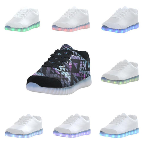 Colorful Prism Triangles Design 2 Light Up Casual Women's Shoes-Light Up Shoes-JEFAMO