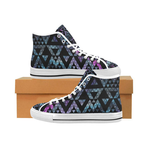 Image of Colorful Prism Triangles Design 2 Vancouver High Top Canvas Men's Shoes-Canvas Shoes-JEFAMO