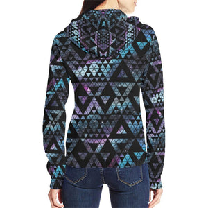 Colorful Prism Triangles Design 2 Women's All Over Print Full Zip Hoodie