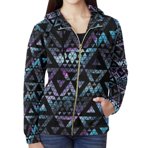 Colorful Prism Triangles Design 2 Women's All Over Print Full Zip Hoodie-Hoodies-JEFAMO
