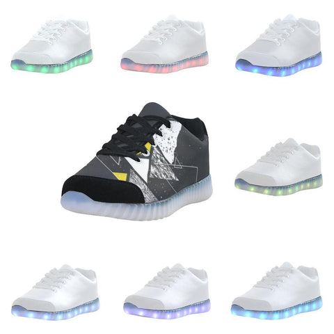 Colorful Prism Triangles Design 3 Light Up Casual Men's Shoes-Light Up Shoes-JEFAMO