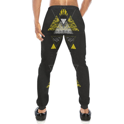 Colorful Prism Triangles Design 3 Men's All Over Print Casual Jogger Pants-Pants-JEFAMO