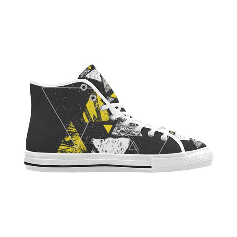 Image of Colorful Prism Triangles Design 3 Vancouver High Top Canvas Men's Shoes-Canvas Shoes-JEFAMO