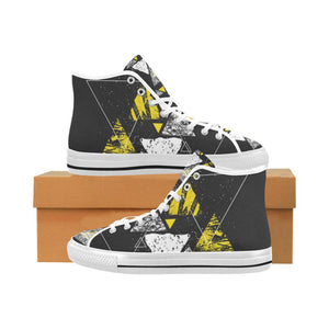 Colorful Prism Triangles Design 3 Vancouver High Top Canvas Men's Shoes-Canvas Shoes-JEFAMO