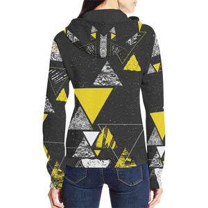 Colorful Prism Triangles Design 3 Women's All Over Print Full Zip Hoodie