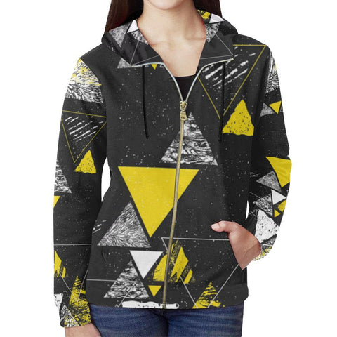 Colorful Prism Triangles Design 3 Women's All Over Print Full Zip Hoodie-Hoodies-JEFAMO