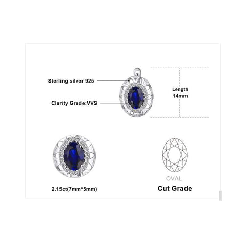Image of Created Blue Sapphire Crown Earrings 925 Sterling Silver-JP_EARRINGS-JEFAMO