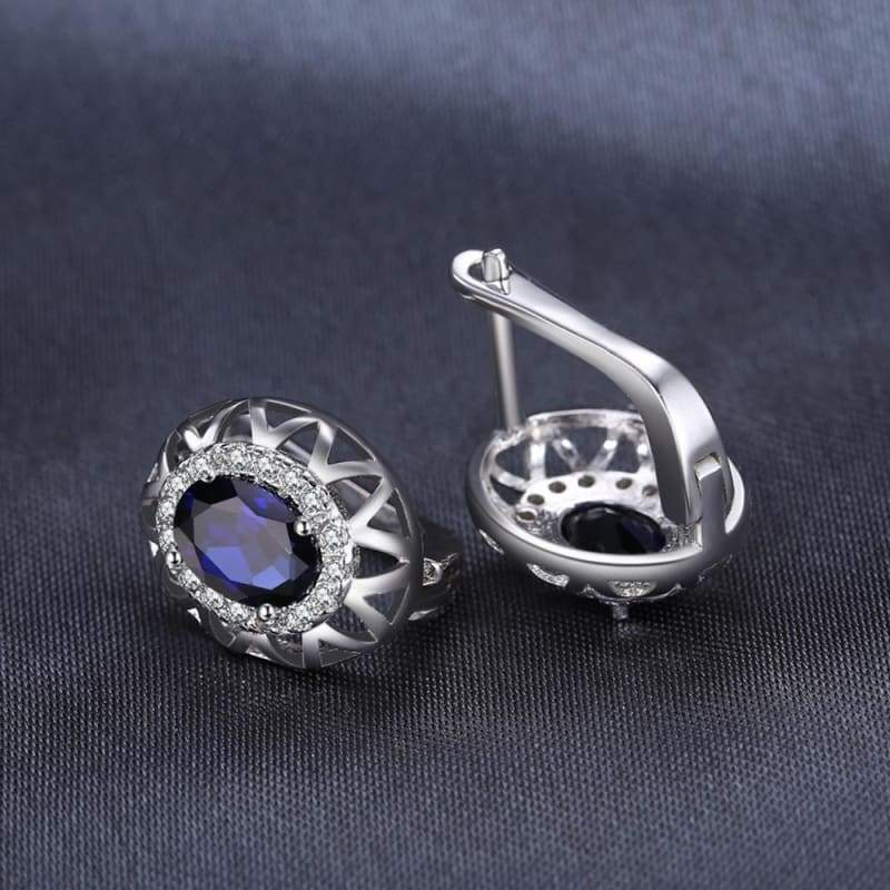 Created Blue Sapphire Crown Earrings 925 Sterling Silver-JP_EARRINGS-JEFAMO