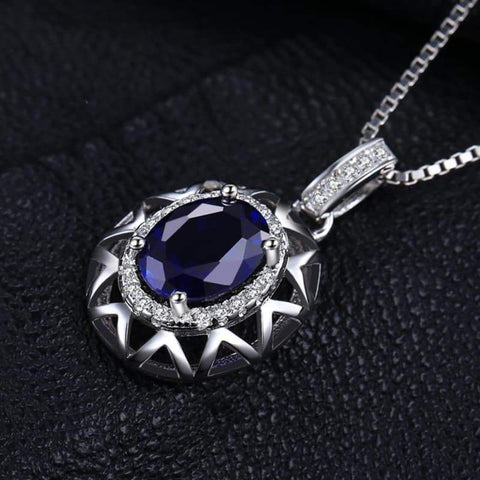 Image of Created Blue Sapphire Crown Pendant 925 Sterling Silver-JP_PENDANTS-JEFAMO