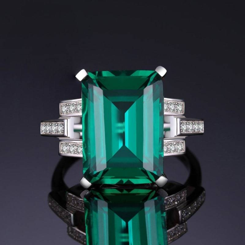 Created Emerald Cocktail Ring 925 Sterling Silver-JP_RINGS-JEFAMO