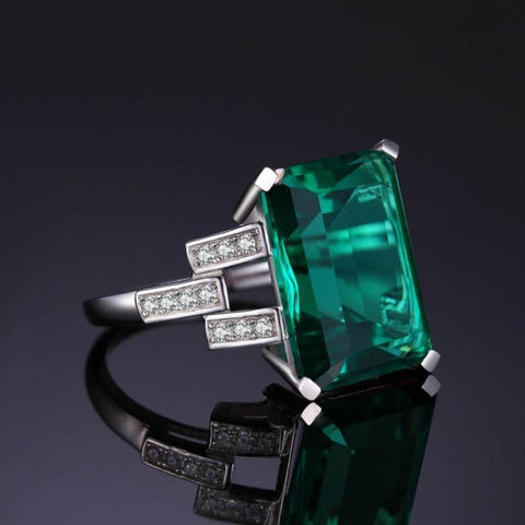 Image of Created Emerald Cocktail Ring 925 Sterling Silver-JP_RINGS-JEFAMO