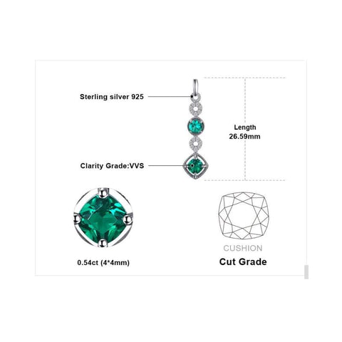 Image of Created Emerald Drop Earrings 925 Sterling Silver-JP_EARRINGS-JEFAMO
