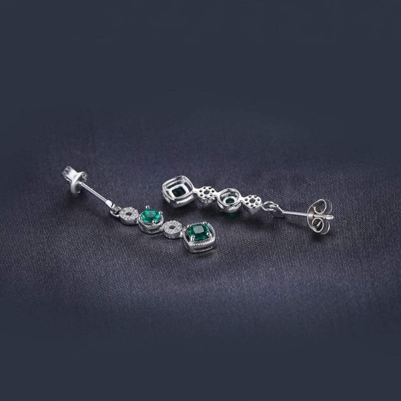 Created Emerald Drop Earrings 925 Sterling Silver-JP_EARRINGS-JEFAMO