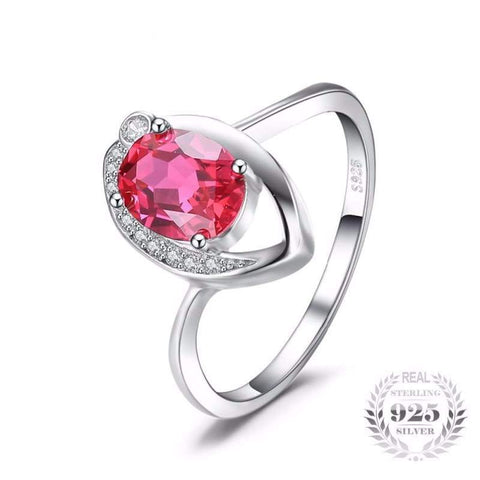 Image of Created Red Ruby Eye Ring 925 Sterling Silver-JP_RINGS-JEFAMO
