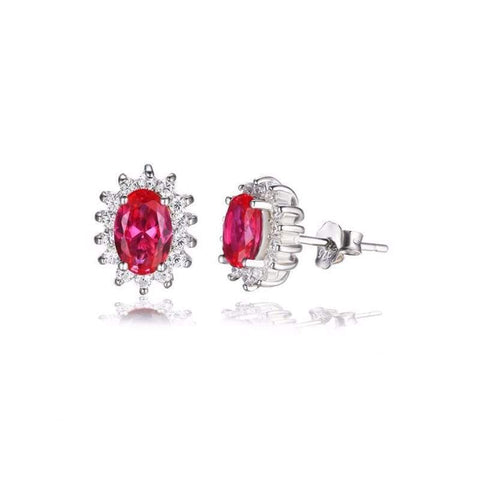 Image of Created Red Ruby Oval Earrings 925 Sterling Silver-JP_EARRINGS-JEFAMO