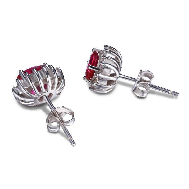 Created Red Ruby Oval Earrings 925 Sterling Silver-JP_EARRINGS-JEFAMO