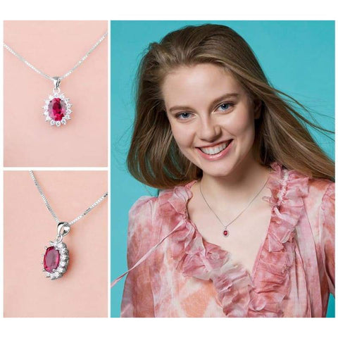 Image of Created Red Ruby Oval Pendant 925 Sterling Silver-JP_PENDANTS-JEFAMO