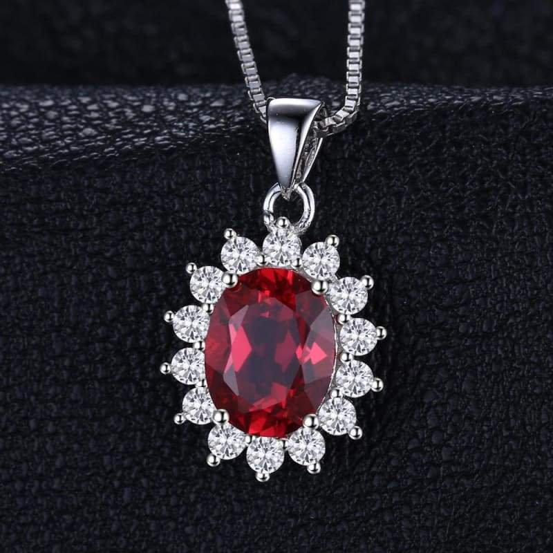 Created Red Ruby Oval Pendant 925 Sterling Silver-JP_PENDANTS-JEFAMO