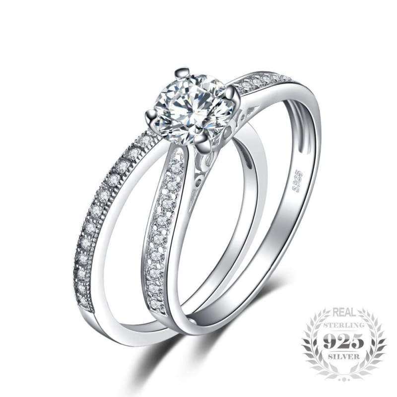 Cubic Zirconia 2 Piece Split Ring Set 925 Sterling Silver-JP_RINGS-JEFAMO
