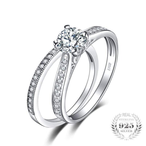 Image of Cubic Zirconia 2 Piece Split Ring Set 925 Sterling Silver-JP_RINGS-JEFAMO